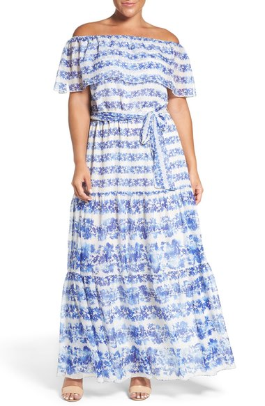 PLus size resort wear and vacation cloth. off shoulder dress