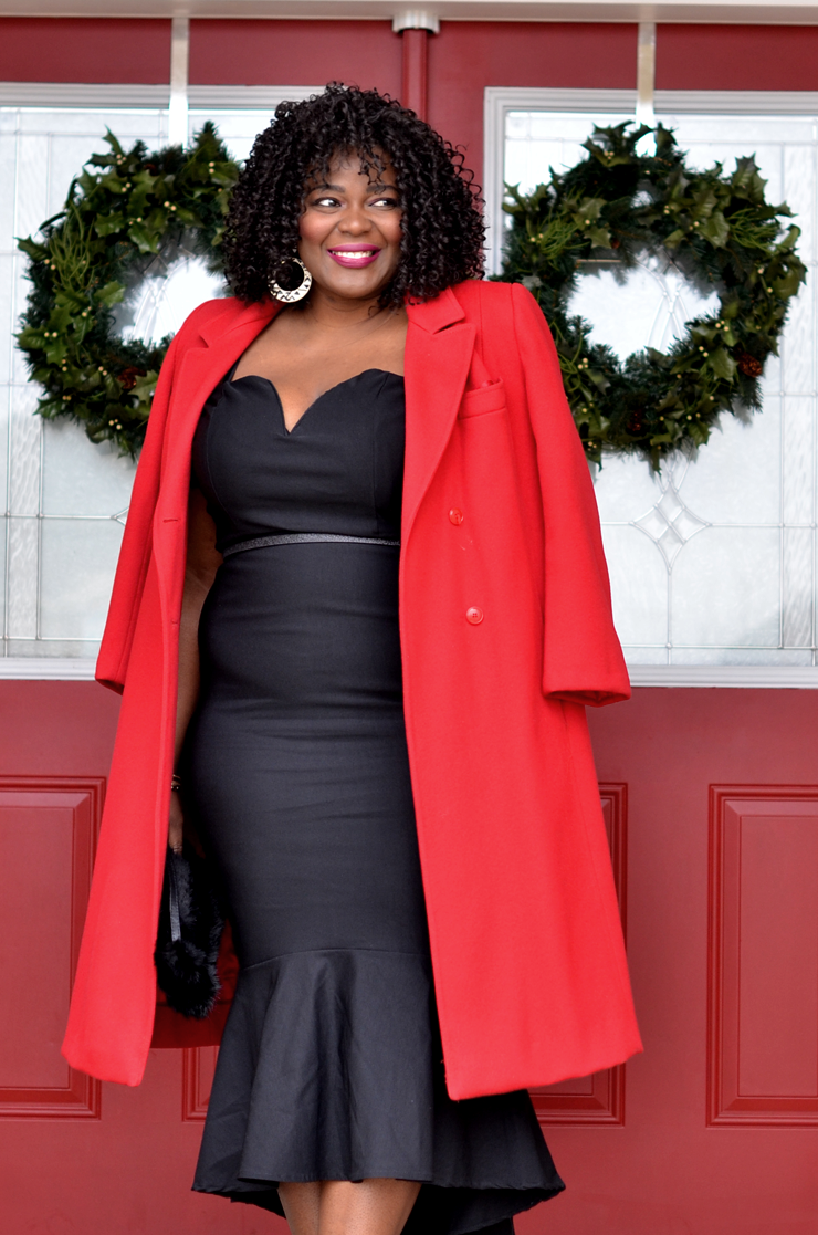Little Black Dress Red Long Coat My Curves And Curls