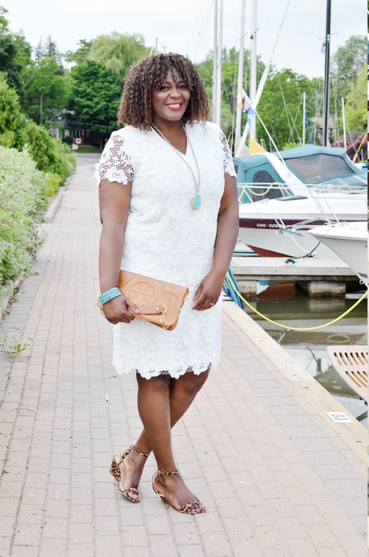 A stunning white plus size lace dress fit for a bride or all white party. With short sleeves and midi length.