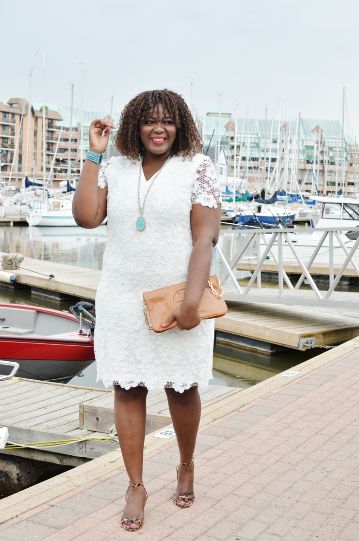 a plus white lace dress with a pair of leopard sandals, #outfit #plussize #curves #canada