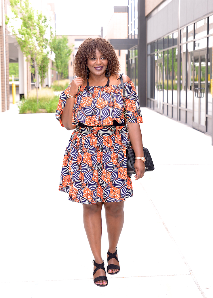 Plus Size African print clothing off-shoulder-skirt-set-Mycurves-and-curls