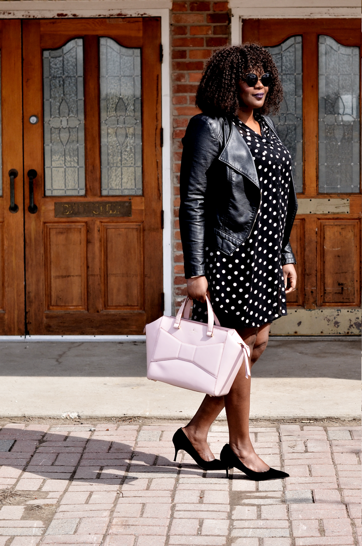 Shirtdress and moto jacket- Transitioning to fall mycurvesandcurls.com