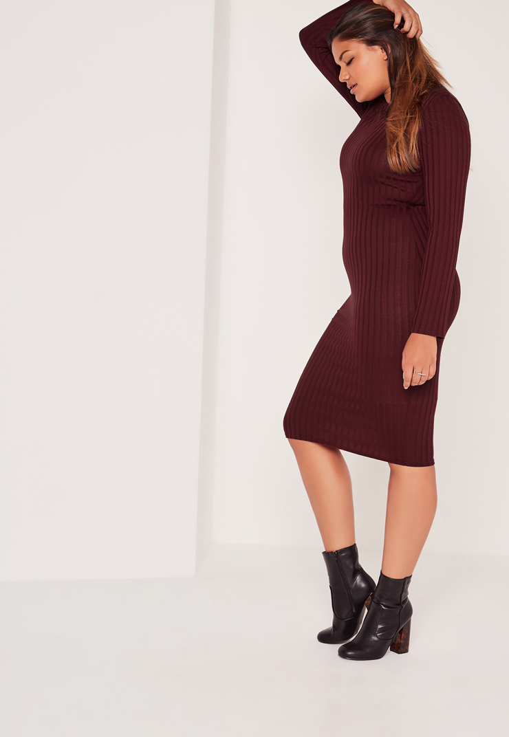 Plus-size-burgundy-fall-dress