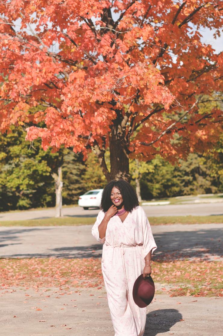 Fall Wedding Guest Jumpsuit- Plus size fall outfit idea- Assa Cisse
