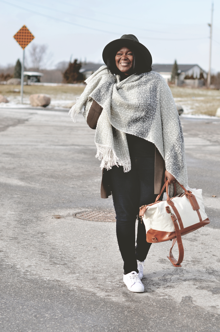 Winter Travel Outfit by mycurvesandcurls.com