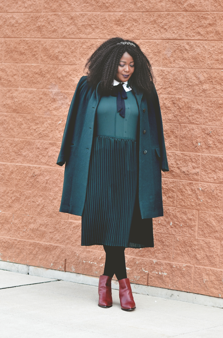 monocromatic-outfit-idea-plus size pleated dress with burgundy booties see more on www.mycurvesandcurls.com