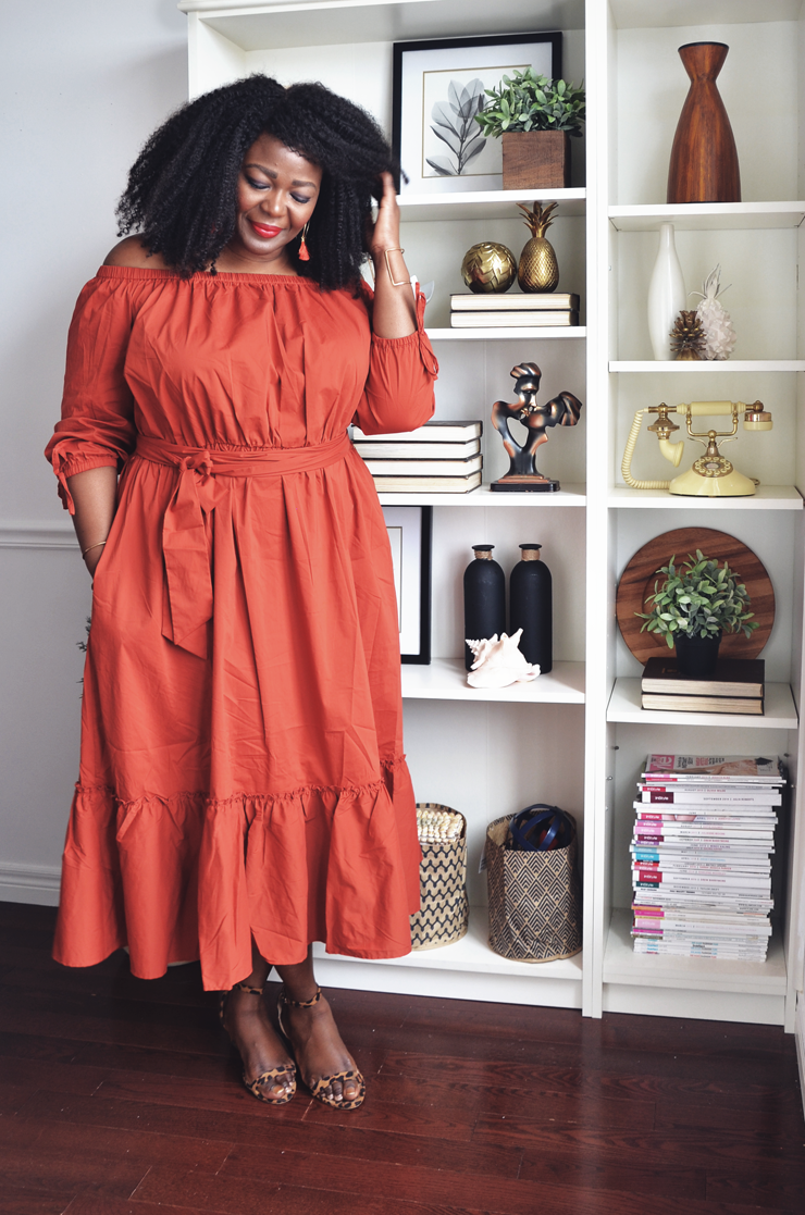 Off the Shoulder Dress- Bohemian chic-Eloquii- Assa Cisse- mycurvesandcurls.com