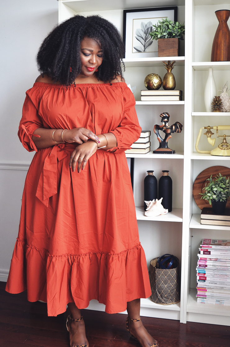 Assa cisse- in orange plus size off the shoulder dress from Eloquii- mycurvesandcurls.com