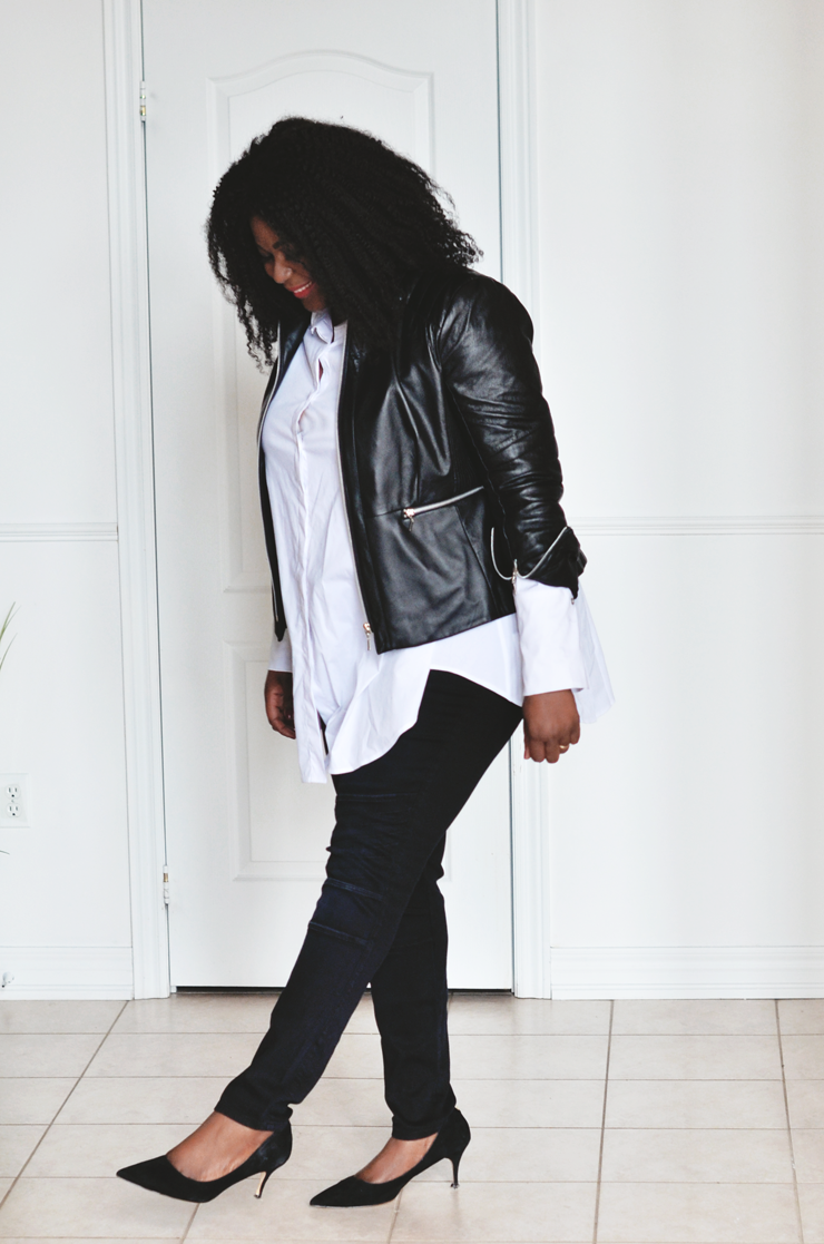 Minimalist style- white button shirt- black skinny jeans-moto-jacket- mycurvesandcurls.com