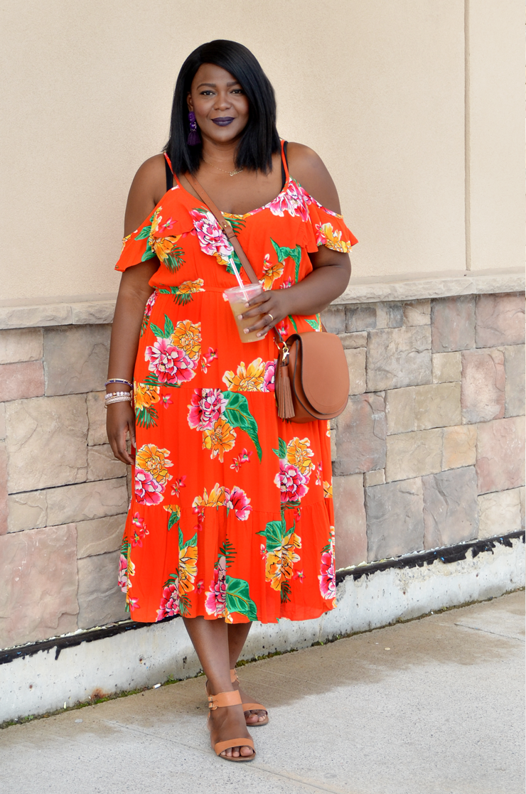 Floral cold shoulder plus size outft