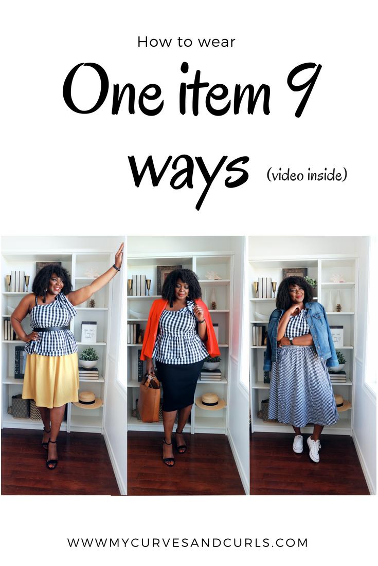 How to wear a Gingham top 9 ways- one item 3 ways- mycurvesandcurls.com