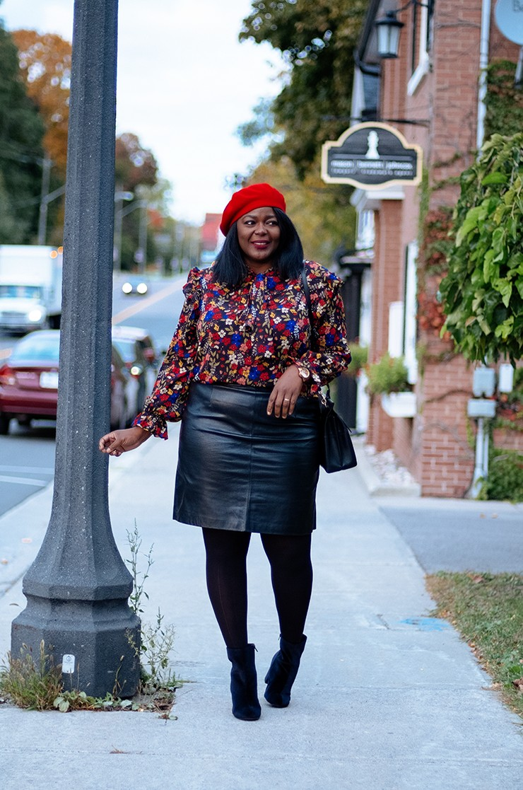 Plus Size Leather Skirt Outfit| My Curves And Curls