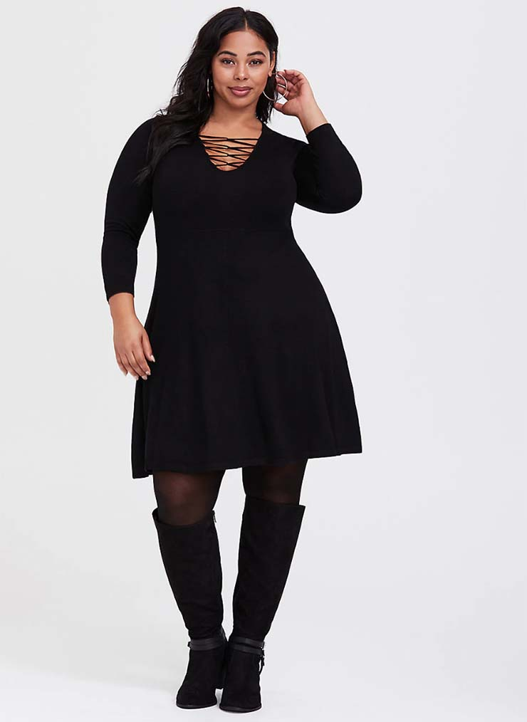 7c7a3495f4c Black lattice skater sweater dress · Dreamy Ditsy Tunic Top · Black  Medallion Challis trapeze Dress . long tunic tops to wear with leggings  canada
