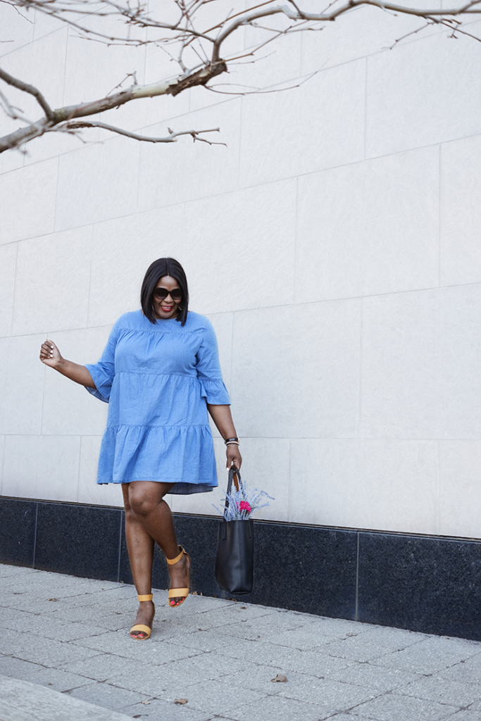 What To Wear to Brunch: Mini Chambray dress | My Curves And ...
